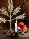 Oekraïens Kerstmisconcept voor groetkaart Samenstelling van Kerstmissymbool didukh, brandende kaars, appelen, okkernoten op houte Stock Foto