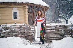 Oekraïens meisje in nationaal kostuum Stock Afbeelding