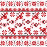 Oekraïens, Slavisch Traditioneel volks gebreid rood borduurwerkpatroon Stock Afbeelding