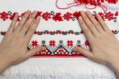 Oekraïens traditioneel patroon van karakters Stock Fotografie