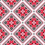 Oekraïens traditioneel volks gebreid rood borduurwerkpatroon Royalty-vrije Stock Afbeelding