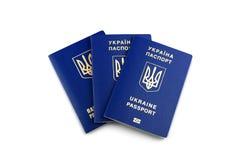 Oekraïense biometrische paspoorten stock foto