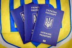 Oekraïense biometrische paspoorten stock afbeeldingen