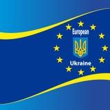 Oekraïense en Europese vlag Stock Afbeeldingen