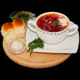 Oekraïense en Russische nationale rode borsjt Stock Fotografie