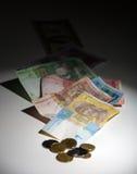 Oekraïense hryvnia en de Amerikaanse dollar Stock Foto's
