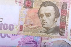 Oekraïense hryvnia en de Amerikaanse dollars Royalty-vrije Stock Afbeeldingen