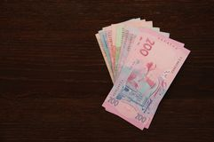 Oekraïense hryvnia, rekeningen is op de lijst Stock Foto