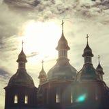 Oekraïense kerk bij zonsondergang Royalty-vrije Stock Afbeeldingen
