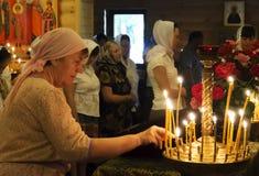Oekraïense Orthodox viert Drievuldigheid Stock Foto