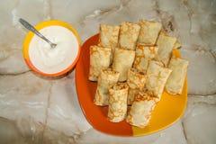 Oekraïense pannekoeken met vlees Royalty-vrije Stock Foto