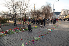 Oekraïense revolutie, Euromaidan na een aanval door overheid F Stock Fotografie