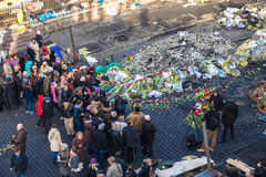 Oekraïense revolutie, Euromaidan na een aanval door overheid F Stock Afbeeldingen