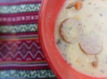 Oekraïense soep in een kom stock afbeeldingen