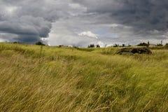 Oekraïense steppe en het overweldigen cloudscape Stock Afbeeldingen