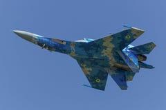 Oekraïense Sukhoi su-27 Flanker tijdens de vlucht Royalty-vrije Stock Afbeelding