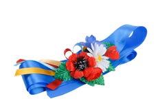Oekraïense traditionele donkerblauwe riem stock afbeeldingen