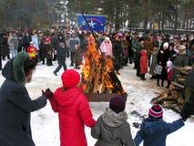 Oekraïense vakantie Maslenitsa (pannekoekweek) Stock Afbeeldingen