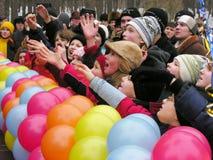 Oekraïense vakantie Maslenitsa (pannekoekweek) Stock Foto's