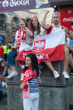 Oekraïense ventilatorstreek tijdens de UEFA-EURO 2012 Stock Foto's