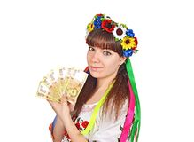Oekraïense vrouw met nationale geldhryvna stock foto