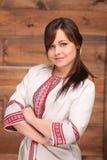 Oekraïense vrouw in traditioneel kostuum Royalty-vrije Stock Foto's