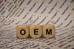Oem - cube with letters and words from the computer, software, internet categories, wooden cubes. Wooden cubes with words from the computer, software, internet Royalty Free Stock Photos