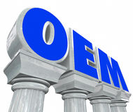 OEM Letters Stone Columns Original Equipment Manufacturer Parts Stock Image