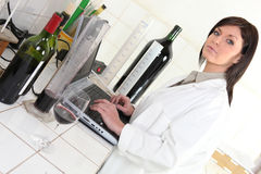 Oenologist in her lab Royalty Free Stock Image