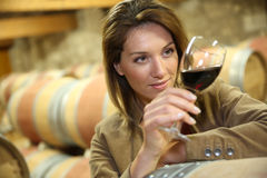 Oenologist tasting red wine Royalty Free Stock Image
