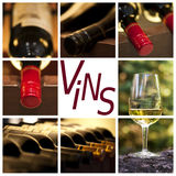 Oenology and wine concept collage, word vins. Meaning wine in French Royalty Free Stock Image