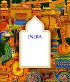 Oerhörd Indien bakgrund som visar indisk färgrik kultur och religion stock illustrationer