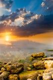 oerhörd solnedgång Arkivfoto