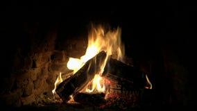Oerhört älskvärt mysigt slut upp sikt för ögla 4k på den wood flamman för brand som långsamt bränner i atmosfär för stillhet för  arkivfilmer