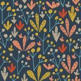 Oerwoud bloemen naadloos patroon Vector bosdruk Stock Afbeeldingen