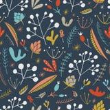 Oerwoud bloemen naadloos patroon Vector bosdruk Royalty-vrije Stock Afbeeldingen