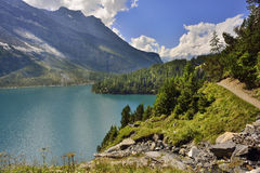 Oeschinensee from Kandersteg area. Berner Oberland. Switzerland Royalty Free Stock Photos