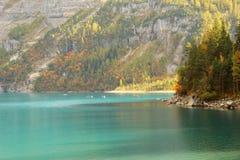 Oeschinensee, Kandersteg, cabina di funivia di Oeschinen del lago Switzerland Immagine Stock