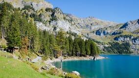 Oeschinensee Oeschinen lake. The panorama in Oeschinensee Oeschinen lake Stock Photography