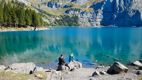 Oeschinensee Oeschinen lake. The panorama in Oeschinensee Oeschinen lake Stock Photos
