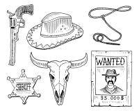 Oeste, demostración del rodeo, vaquero o indios salvajes con el lazo sombrero y arma, cactus con la herradura, estrella y bisonte ilustración del vector