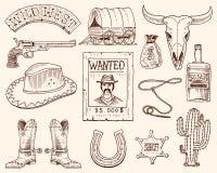 Oeste, mostra do rodeio, vaqueiro ou indianos selvagens com laço chapéu e arma, cacto com estrela do xerife e bisonte, bota com Foto de Stock Royalty Free