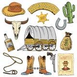 Oeste, mostra do rodeio, vaqueiro ou indianos selvagens com laço chapéu e arma, cacto com estrela do xerife e bisonte, bota com Foto de Stock