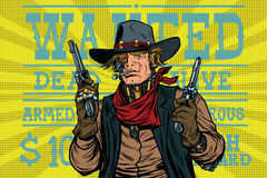 Oeste salvaje del bandido del robot de Steampunk, querido ilustración del vector