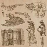 Oeste salvaje - paquete dibujado mano del vector Foto de archivo