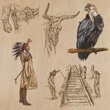 Oeste salvaje - paquete dibujado mano del vector Fotografía de archivo