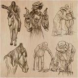 Oeste selvagem e nativos americanos - um bloco tirado mão do vetor linha ilustração stock
