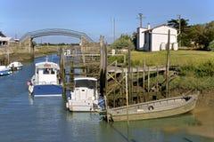 Oesterhaven van Les Moutiers Engelse Retz Stock Afbeeldingen