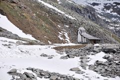 Oetztal Valley, alpine road and chapel, Austria. Image shows Oetztal Valley at glacier Rettbach-/Tiefenbachwith in Austria with high alpine road and a chapel on Stock Photo