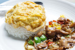 Oeuf au plat avec du riz Photographie stock libre de droits
